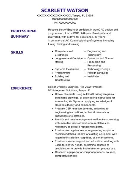Senior Systems Engineer resume template Florida