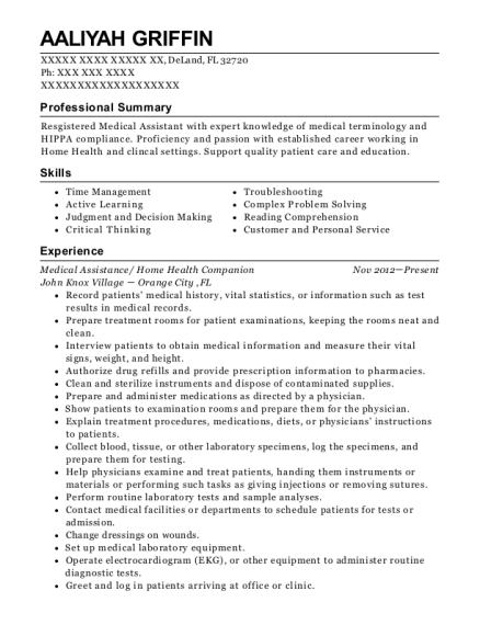 Medical Assistance resume example Florida