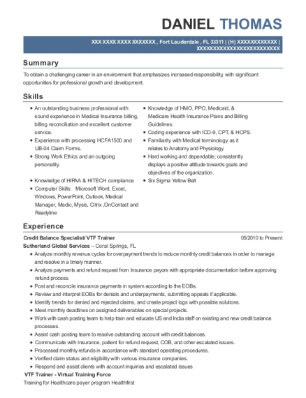 Credit Balance Specialist resume sample Florida
