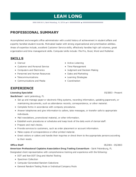 Licensing Specialist resume template Florida