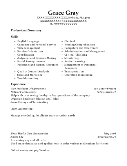Vice President Of Operations resume template Florida