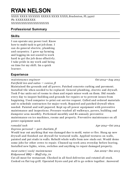 Maintenance Engineer resume example Florida