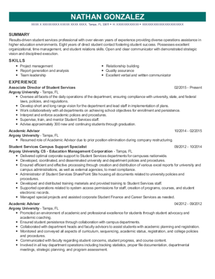 Associate Director of Student Services resume example Florida