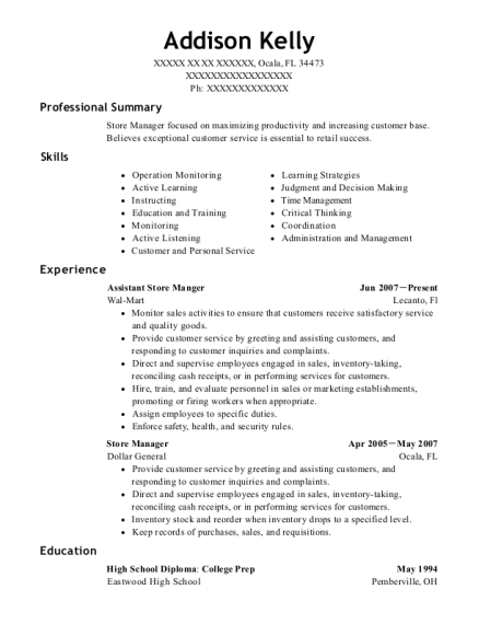 Assistant Store Manger resume template Florida