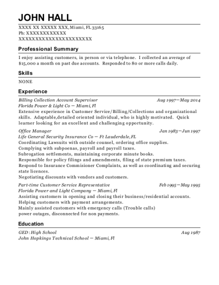 Billing Collection Account Supervisor resume example Florida