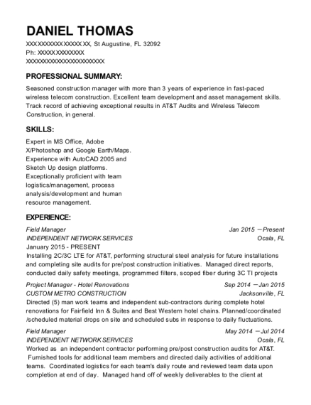 Field Manager resume format Florida