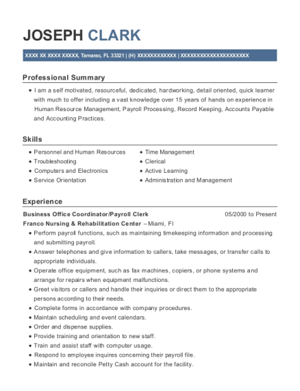 Business Office Coordinator resume example Florida