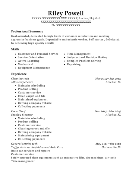 Cleaning tech resume format Florida