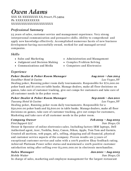 Poker Dealer & Poker Room Manager resume sample Florida