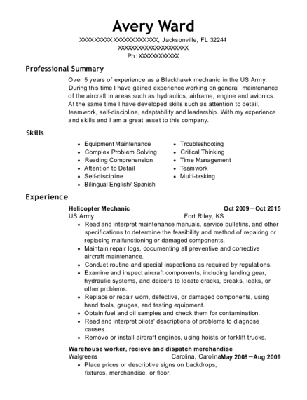 Helicopter Mechanic resume example Florida