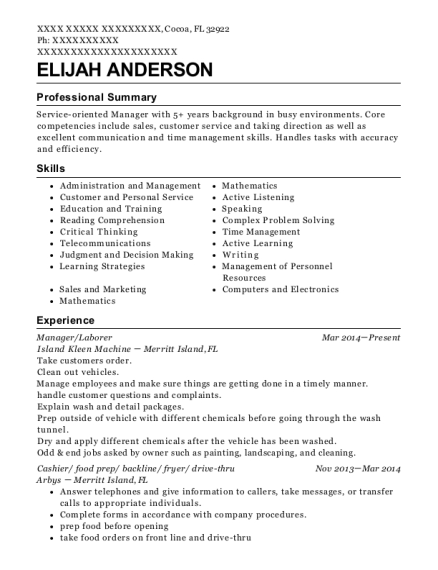 Manager resume example Florida