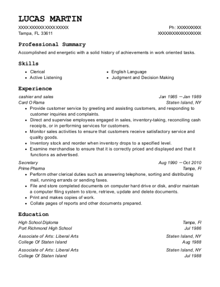 cashier and sales resume example Florida
