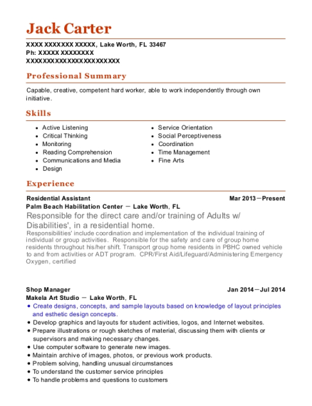 Residential Assistant resume format Florida