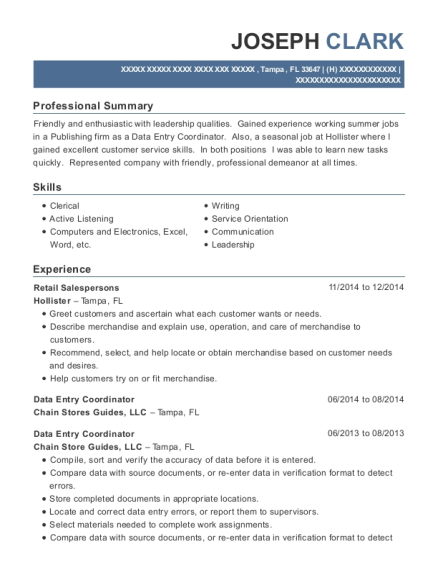 Retail Salespersons resume template Florida