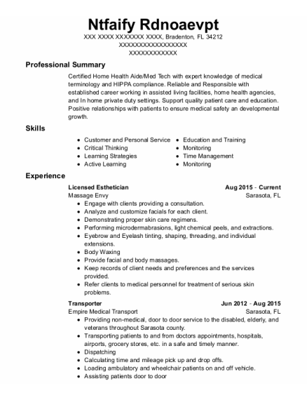 Licensed Esthetician resume template Florida