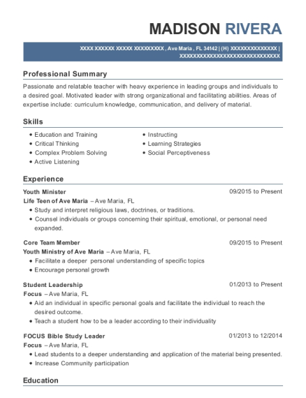 Youth Minister resume example Florida