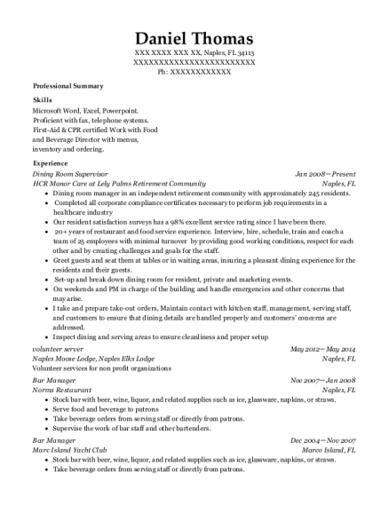 Dining Room Supervisor resume template Florida