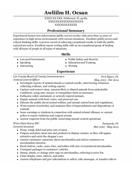 Animal Control Officer resume sample Florida