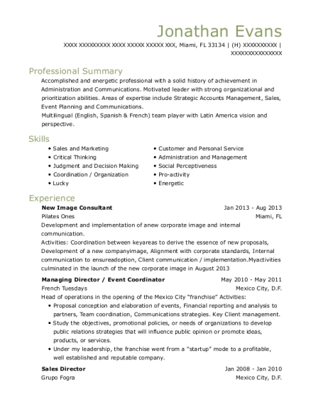 New Image Consultant resume sample Florida