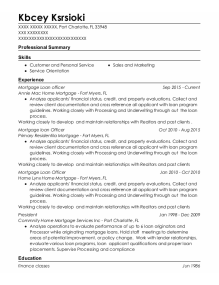Mortgage Loan officer resume example Florida