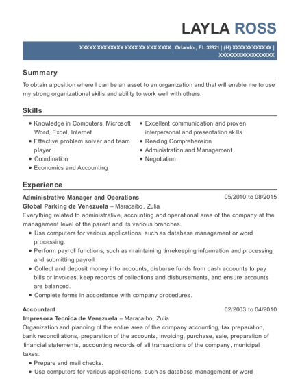 Administrative Manager and Operations resume format Florida