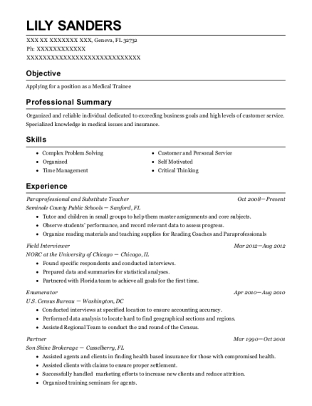 Paraprofessional and Substitute Teacher resume format Florida