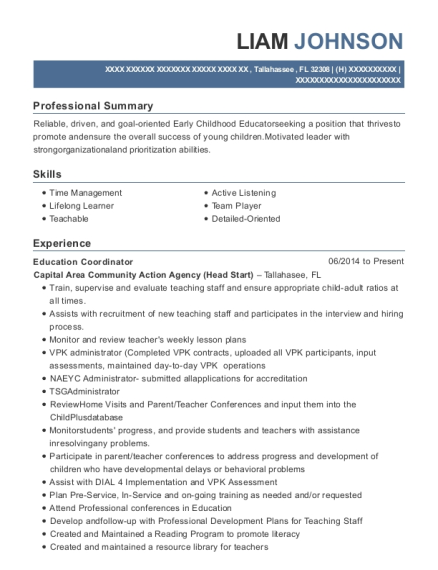Education Coordinator resume example Florida