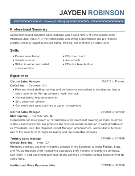 District Sales Manager resume example Florida