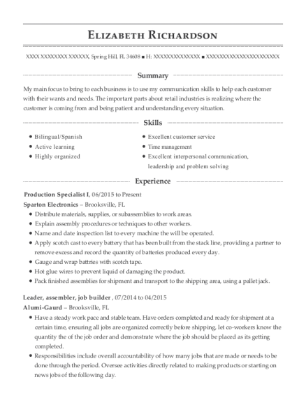 Production Specialist I resume template Florida