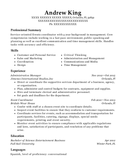 Administrative Manager resume example Florida
