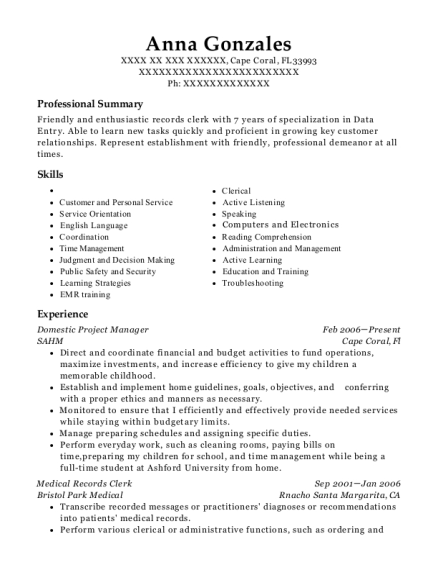Domestic Project Manager resume sample Florida