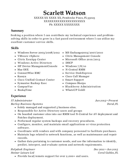 IT Administrator resume format Florida