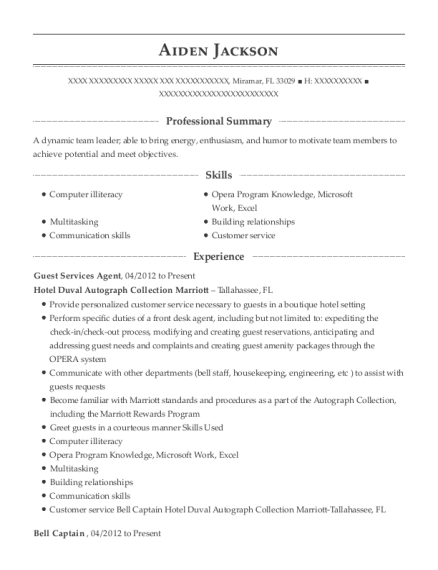 Guest Services Agent resume sample Florida