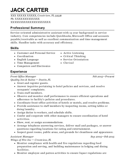 Front Office Manager resume example Florida