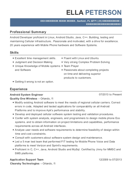 Android System Engineer resume sample Florida