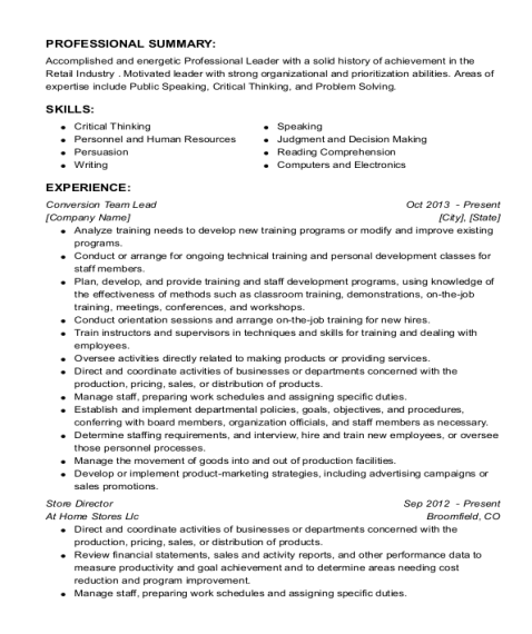 Conversion Team Lead resume sample Florida