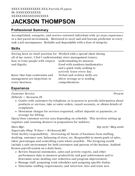 Customer Service resume example Florida