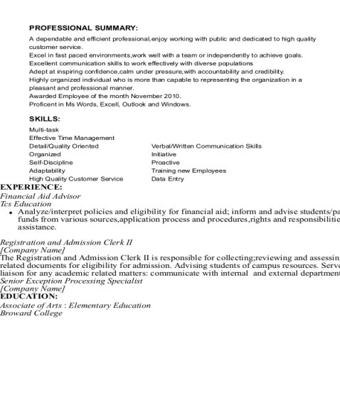 Financial Aid Advisor resume sample Florida