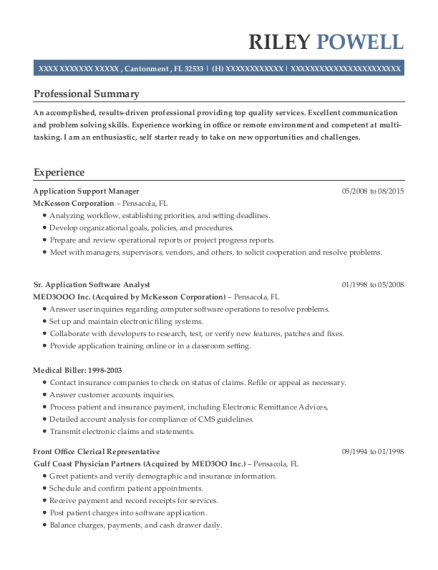 Application Support Manager resume template Florida