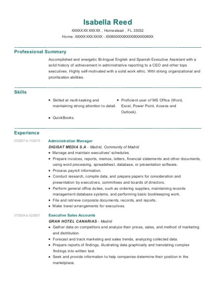 Administration Manager resume template Florida