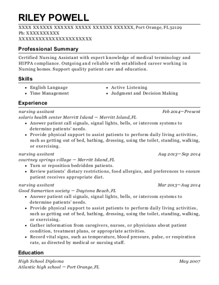 nursing assitant resume template Florida