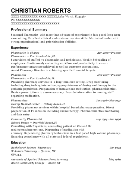 Pharmacist in Charge resume template Florida