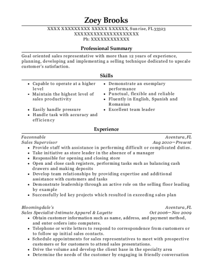 Sales Supervisor resume example Florida