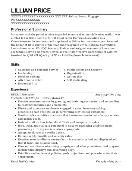 RETAIL Managers resume template Florida