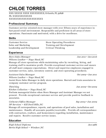 Store Sales Manager resume template Florida