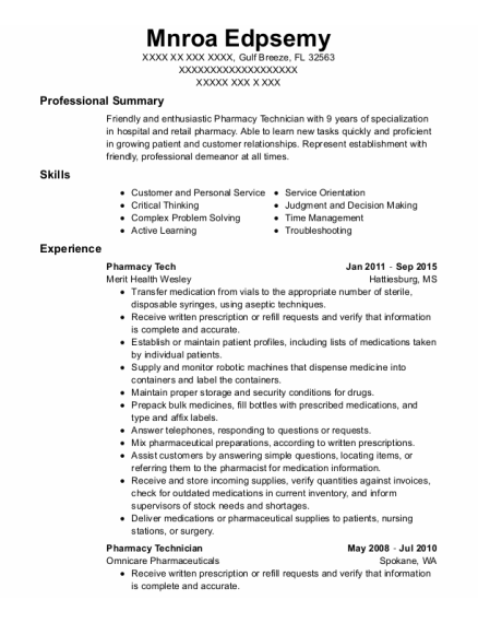 Pharmacy Tech resume format Florida