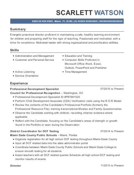 Professional Development Specialist resume template Florida