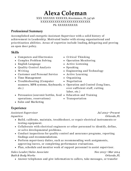 Assistant Supervisor resume example Florida