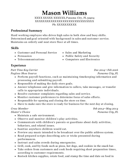 Part Time Key Carrier resume sample Florida
