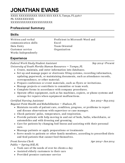Federal Work Study Student Assistant resume example Florida